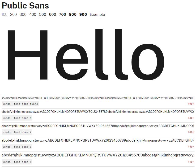 Muestra de la fuente Public Sans con un peso de 500