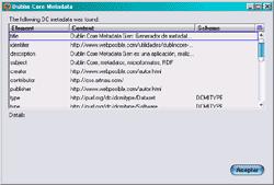 Imagen de la extensión de Firefox Dublin Core Viewer mostrando metadatos de la página Dublin Core Metadata Gen
