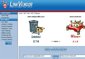 Pantallazo de la aplicación SEO Challege, de Link Vendor comparando los sitios web webposible.com y minid.net. Webposible obtiene 258 puntos, y minid 616, siendo el ganador.