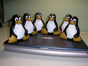 Familia de 6 muñecos Tux encima de un portátil... seguro que funciona con Linux, je je.