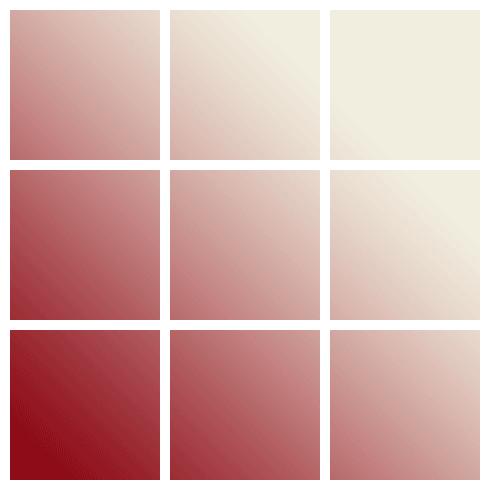 Rejilla con nueve elementos, con un foco de luz en la esquina inferior izquierda.