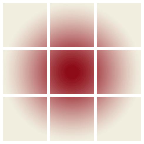 Rejilla de nueve elementos con un foco de luz en el centro.